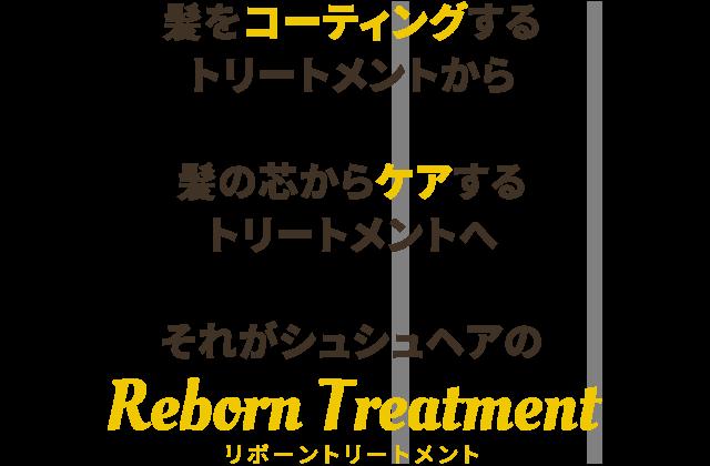 髪をコーティングする トリートメントから  髪の芯からケアする トリートメントへ  それがシュシュヘアの  Reborn Treatment
